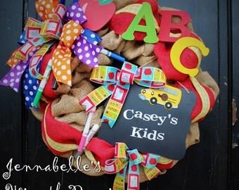 Teacher Wreath, School Wreath, Classroom Decor, Burlap, Teacher Gift, Teacher Appreciation