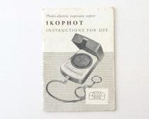 Zeiss Ikon Ikophot Light Meter Instructions Manual