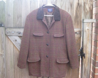 Nice Wool Vintage Riding Style Jacket for your Equestrian Adventures, Plaid, brown , gold and red.