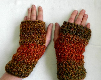 Crocheted Fingerless Gloves Green Fingerless Gloves Green and Rust Multi-Colored Fingerless Gloves Hand Made