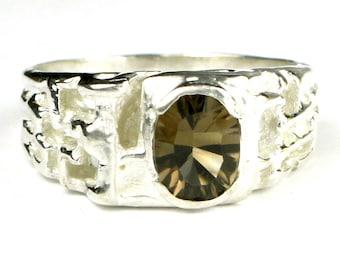 Smoky Quartz, 925 Sterling Silver Men's Ring, SR197