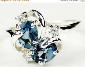 Valentines Sale 30% Off, SR016, London Blue Topaz, 925 Sterling Silver Ring