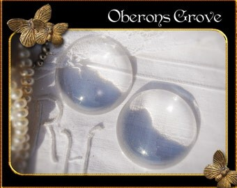 10 clear round glass cabochons 30mm