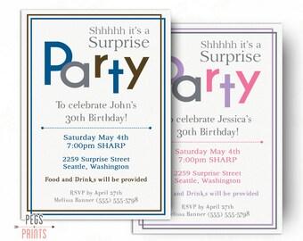 Surprise Birthday Invitations for Men or Women (Printable) Surprise 60th Birthday Invitations - Surprise 30th Birthday Invitation Guys Girls