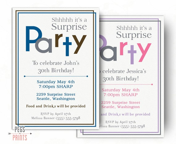 surprise birthday invitations for men or women by pegsprints, Birthday invitations