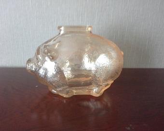 1950s antique pink/orange glass piggy bank, carnival glass pig bank, iridescent pink/orange glass