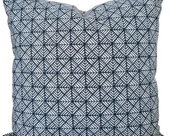 Navy Blue Fretwork-Designer Decorative Pillow Cover-Asian-Accent Pillow-Sofa Pillow-Single Sided