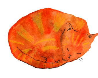 Ginger Cat a5 Postcard
