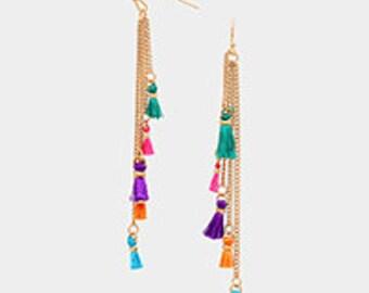 Multi-Color Tassel Earrings,Multi-Tassel Fringe Earrings,  Multi-Color Tassle Earrings, Tassel Earrings, Graduated Tassel Earrings