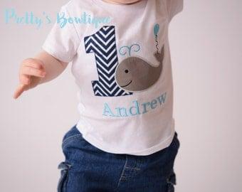 Boys Whale 1st Birthday Shirt or Bodysuit  - Custom Birthday outfit Whale