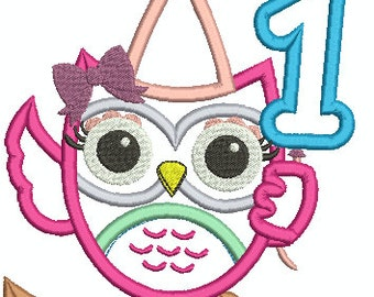 Cute 1st Birthday Girl Owl  in Hat With Number 1 Balloon Applique Machine Embroidery Design 090