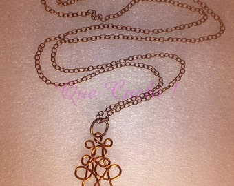 Chain necklace with metal pendant copper and hematite