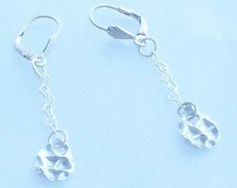Hard and Soft Geometric Sterling Silver Earrings