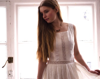 50's style embroidered organic cotton dress // eco wedding dress