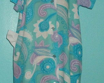 "60s Vintage Mod Flower Power ""Lounge Craft"" Ladies House Dress, Like New — Size Large/12-14"