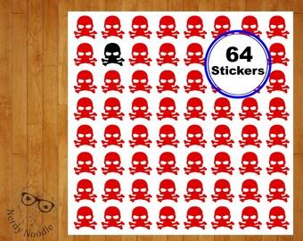 Skull and Crossbones Planner Stickers, 64, Skull and Crossbones Stickers, Skull and Crossbones Sticker Set, Skull and Crossbones Seals