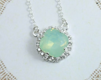 Crystal necklace,crystal pendant necklace,swarovski necklace,swarovski pendant necklace,bridal necklace,mint opal necklace,chrysolite opal