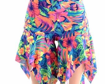 Midrise Pixie Shorts in Neon UV Glow Tahitian Floral Print  Flow Hoop Dance Yoga Aerial -152456