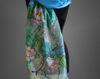 Hand painted silk scarf. Blue scarf with herons. Bird scarf. Designer scarf. Made to order.