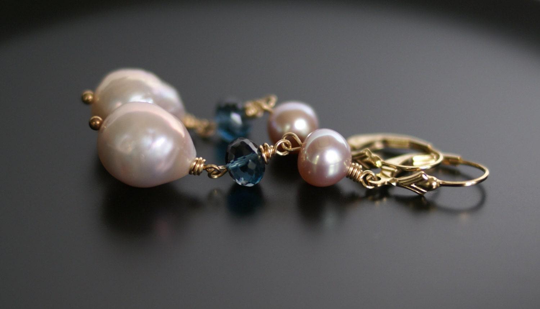 Baroque Pearl Earrings Pearl Drop Earrings London Blue Topaz