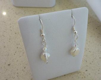Sterling Silver Keshi Pearl & Swarovski Crystal Earrings