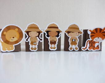 Set of 5+ Jungle Safari candy, treat box - Party Favor, Favour, Jungle Animals Birthday Party, Safari Party Favor Favour