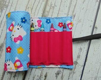 Hello Kitty Crayon Roll, Crayon Organizer, Stocking Stuffer, Kids Gift