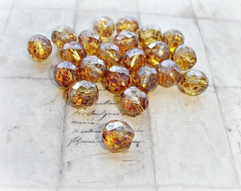 6 x 10 mm Transparent Amber Brown Round Faceted Picasso Czech Glass Beads