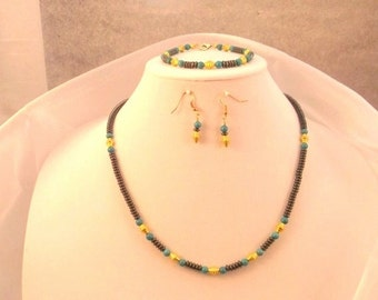 Hematite, Turquoise and Gold 19 inch Necklace, 7.5 inch Bracelet and Earrings Set