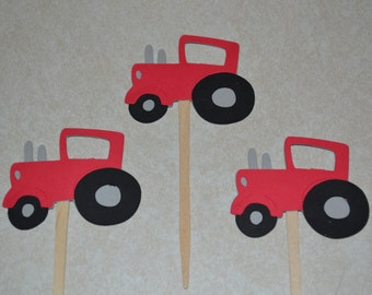 12 Red Tractor Cupcake Picks / Tractor Cupcake Toppers