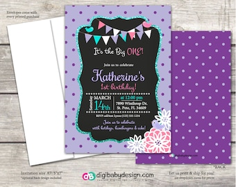 Girls Birthday Party Invitation, purple polka dot & teal chalkboard with pink flowers, Custom digital or printed files