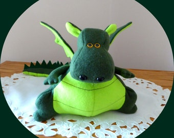 Dragon Stuffed Animal/Dragon Stuffed Toy/Yoki the Fat Dragon Ready Made/DIY Fluffies Dragon/Stuffed Dragon/Fleece Dragon/Yoki