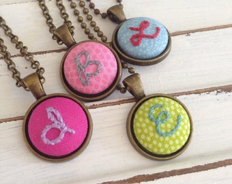 love letters . embroidered pendant necklace . hand embroidered pendant . boho style jewelry . personalized jewelry . monogram . initial .
