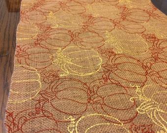 Burlap Gold/Burnt Orange Fall Table Runner