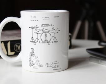 Practice Drum Set Patent Mug, Drummer Gift, Music Room Decor, Percussion, Jazz Mug, Musician Gift, PP0852
