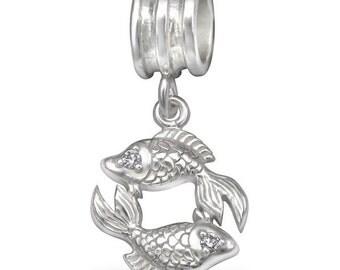 925 Sterling Silver CZ Pisces Zodiac Horoscope Dangling Charm Bead - BD4212
