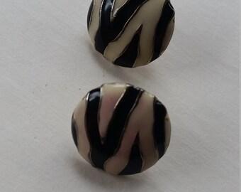 Geometric zebra stripe black and white clip on earrings
