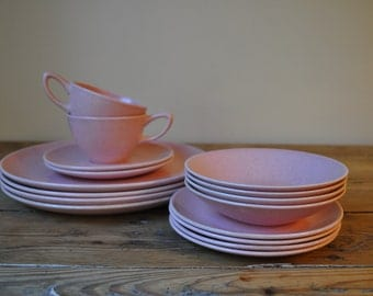 Vintage 1950's Monterey Moderne Pink Speckled Dinnerware. Bauer Pottery of California. Choose Plates, Bowls, Bread Plates, Cups & Saucers.