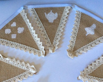 Alice in Wonderland hand stencilled bunting unique with lace edges to the burlap flags