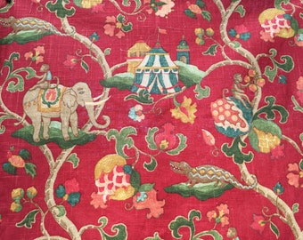Red linen with elephant and monkey circus theme