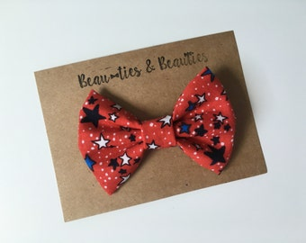 Fourth of July Clip On Bowtie, Patriotic Bowtie, Toddler Hair Clip, Toddler Bowtie, Baby Bowtie