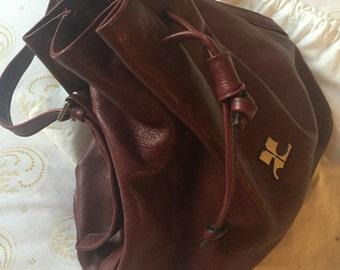 Burgundy Leather Draw String Bag