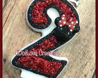Minnie Mouse Inspired Candle with Minnie Resin - You Choose the Number