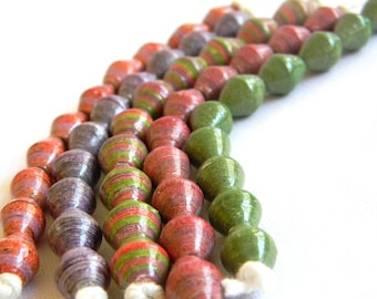 Paper Bead Jewelry Supplies - Paper Beads - Hand painted - Lot of 50 - #B305