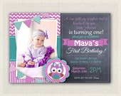Girls 1st Birthday Invitation / Purple + Green Owl  / Printable Download / First Birthday Photo Invitation Invites (24)