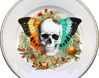 Skull n Wings - Vintage Porcelain Plate - #0507