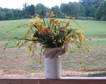 Painted Mason Jar Centerpiece Rustic Silk Floral Arrangement, fall flowers, Painted distressed mason jar, primitive fall centerpiece