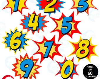 Superhero Numbers clipart, Numbers clipart, Numbers clipart with bursts, commercial use, AMB-1340