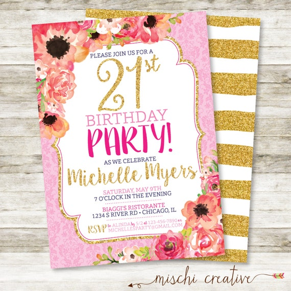 floral girls 21st birthday invitation gold glitter and glam