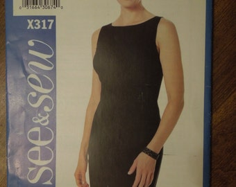 See and Sew X317, sizes 6-12, sleeveless dress, petite, misses, womens, UNCUT sewing pattern, craft supplies